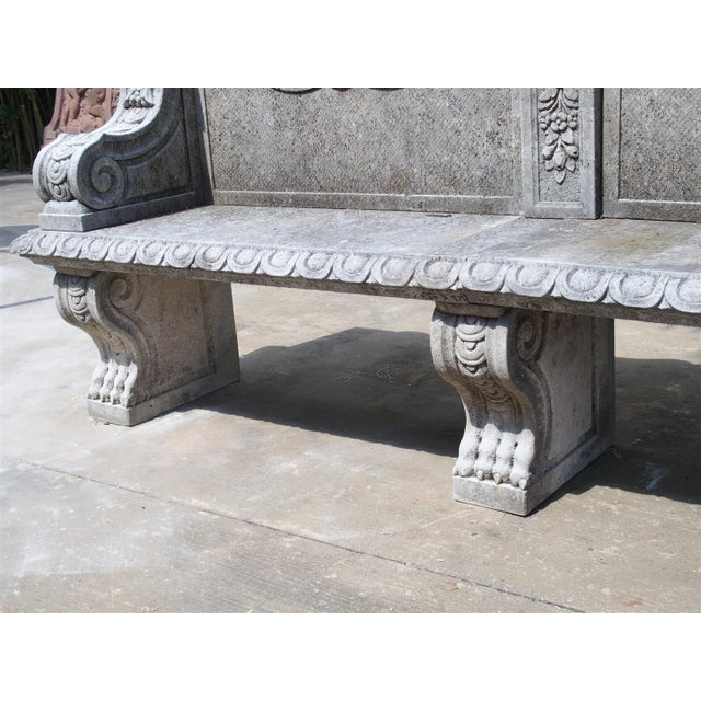 Carved Limestone Garden Bench from Northern Italy - Image 8 of 11