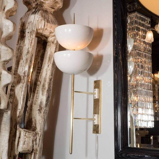 Pair of Monumental Reverse-Dome Trophy Sconces in White Enamel and Brass - Image 8 of 10