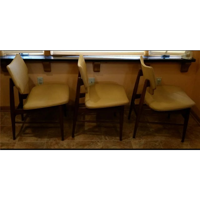 Thonet Mid-Century Yellow Vinyl Chairs - Set of 3 - Image 4 of 11