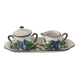 Italian Ceramic Sugar & Creamer Set - A Pair