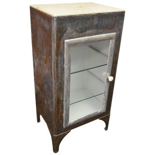 Storage Apothecary Cabinet from Early 20th Century Has Marble Top and Glass Door