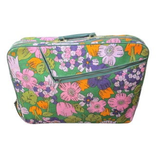 Vintage 60's Floral Fabric Overnight Suitcase