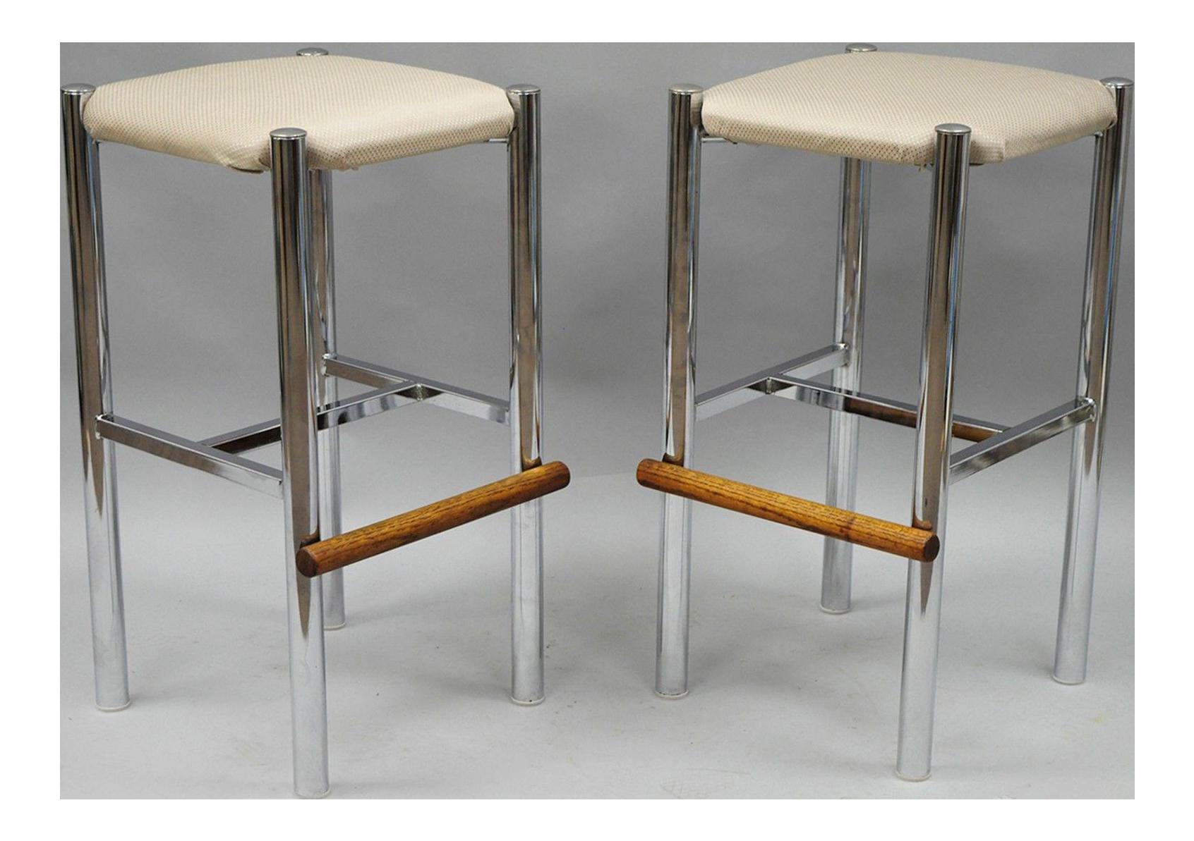 mid century modern chrome u0026 oak wood barstools a pair