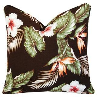 Hibiscus & Bird of Paradise Barkcloth Down Pillow