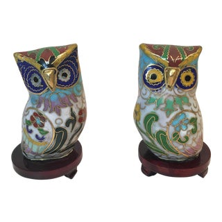 Vintage Chinese Cloisonné Enameled Owls - A Pair