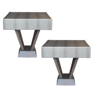 Faux Alligator Pedestal Tables- A Pair