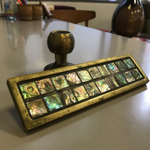 Mid-Century Brass & Abalone Door Pull - Image 2 of 9