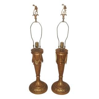 20th Century Rewired Italian Gilt Swag Lamps - 2