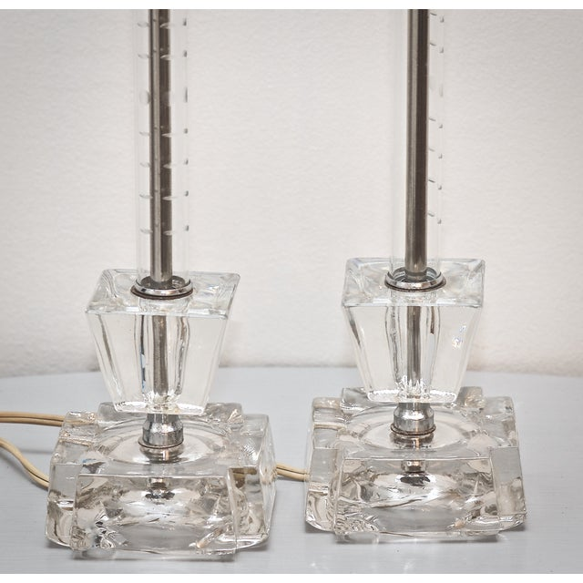 Mid-Century Etched Glass Two Tier Lamps - A Pair - Image 3 of 7
