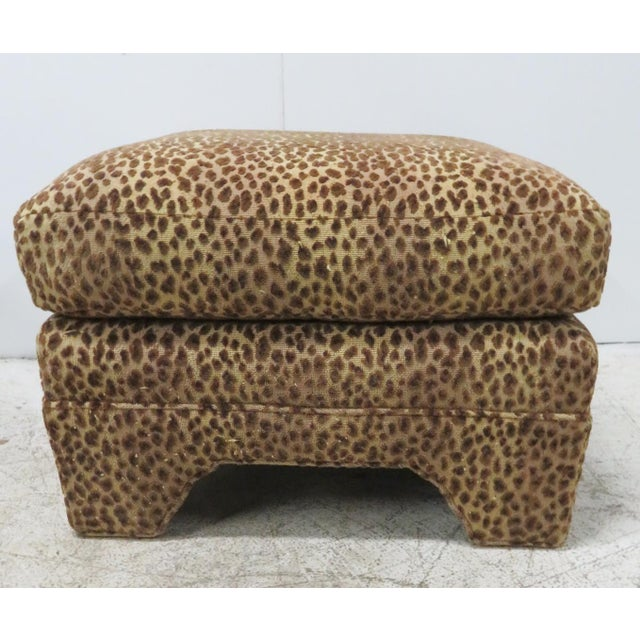 Leopard Upholstered Ottomans - A Pair - Image 2 of 5