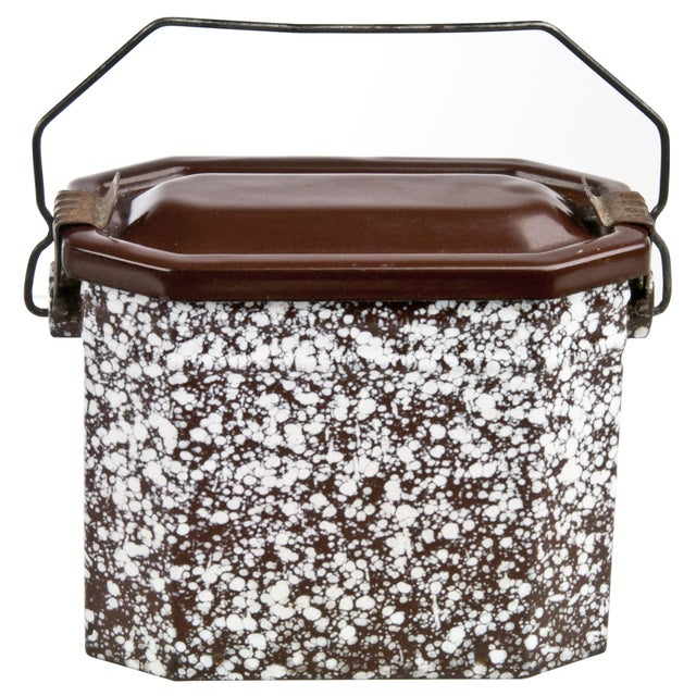 Image of Vintage French Brown & White Enamel Lunch Pail