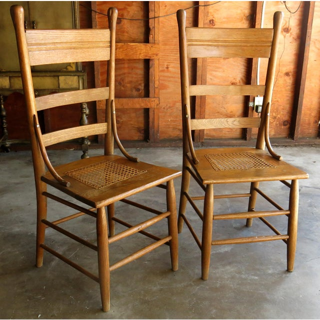 Caned Seat Antique Chairs - A Pair - Image 2 of 6