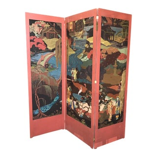 Tri-Fold Painted Screen