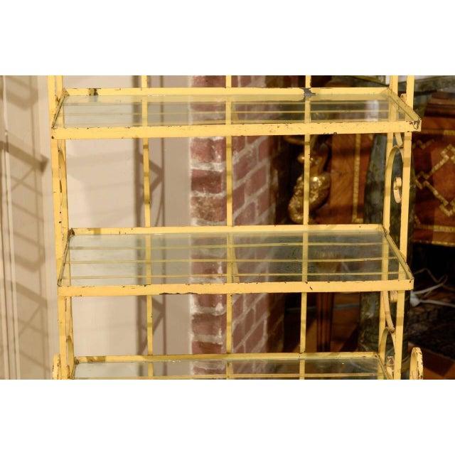 Mid-Century Yellow Iron Baker's Rack - Image 5 of 6