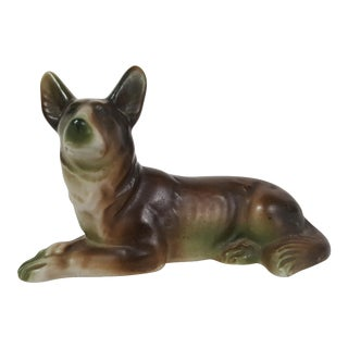 Porcelain German Shepard Figurine Laying Down