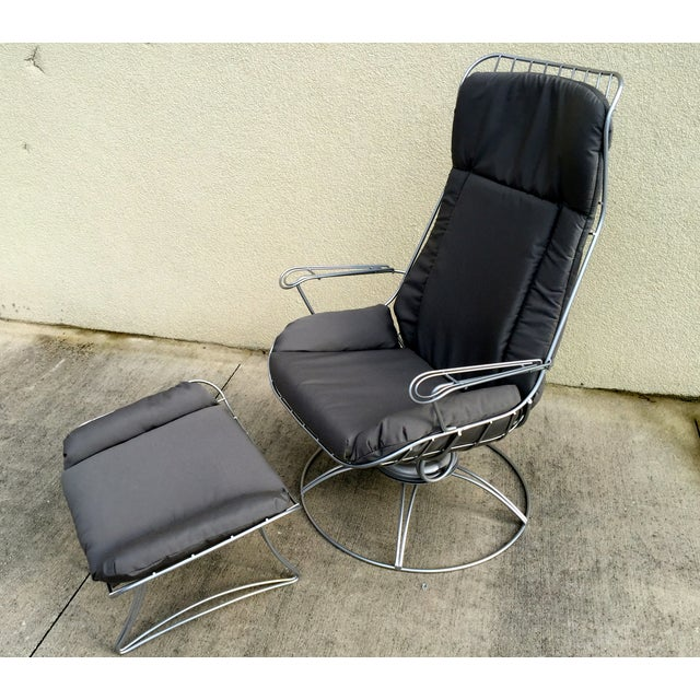 restored mid century wrought iron lounge chair chairish. Black Bedroom Furniture Sets. Home Design Ideas