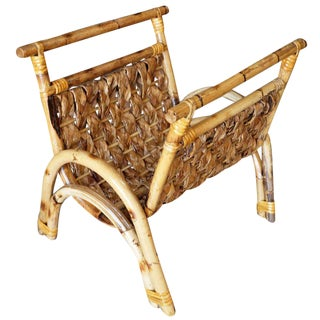 Woven Wicker & Rattan Magazine Rack
