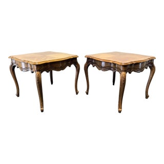 Thomasville French Court Burl Oak End Tables - A Pair