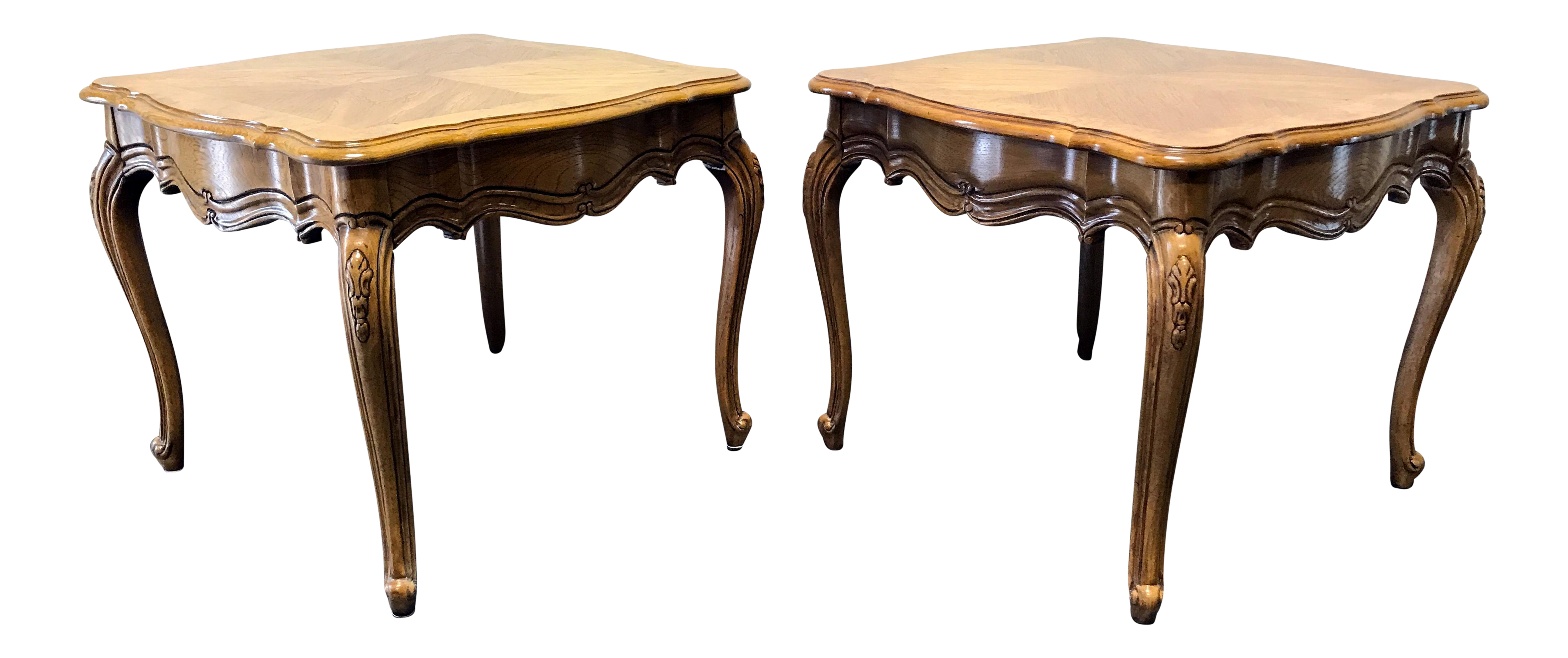 thomasville french court burl oak end tables a pair