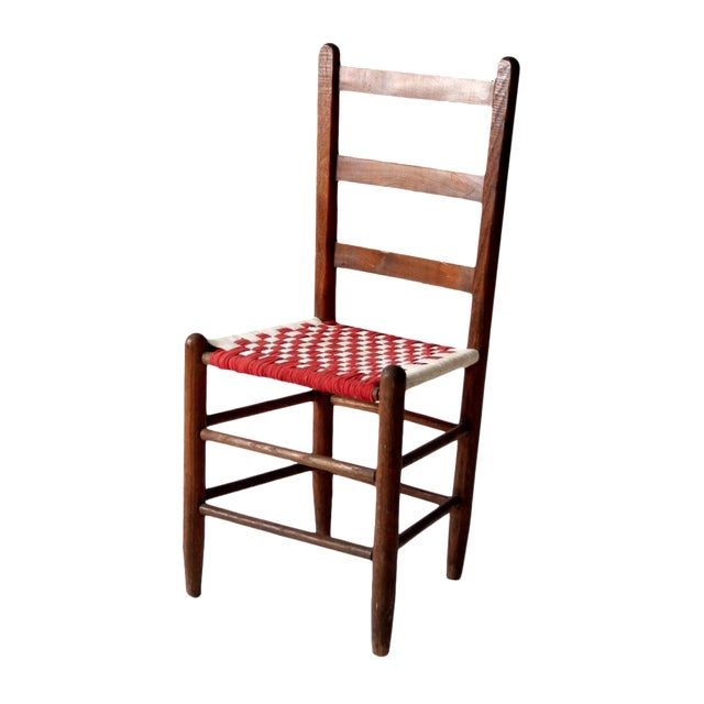 Ladder Back Chair with Woven Fabric Seat - Image 1 of 9