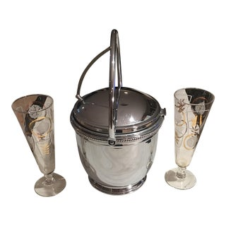 Mid-Century Silver Ice Bucket With Flutes - Set of 3