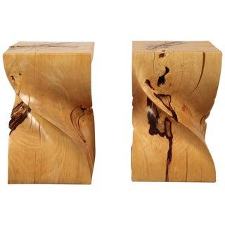 Pair of Indonesian Spiral Pedestal Stools of Mountain Tamarind Hardwood