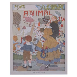 Vintage Matted British Children's Print of Animal