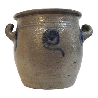 Rare 19th Century Blue Salt Glaze Decorated Salt Crock from Pennsylvania