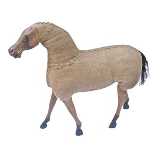 Vintage Large Wood & Burlap Horse Figurine