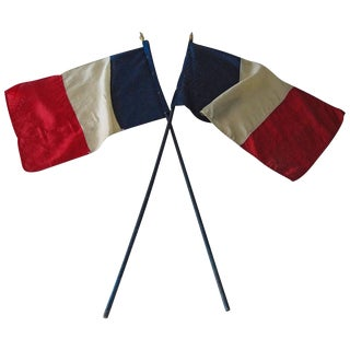 French RF Tri-Color WWII Victory Parade Flags - a Pair