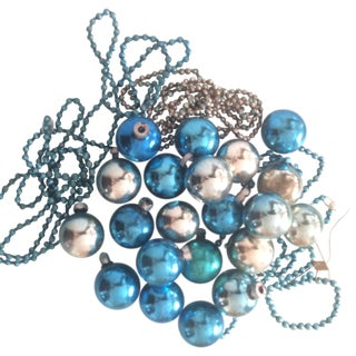 Blue Mercury Glass Holiday Ornaments with Garland