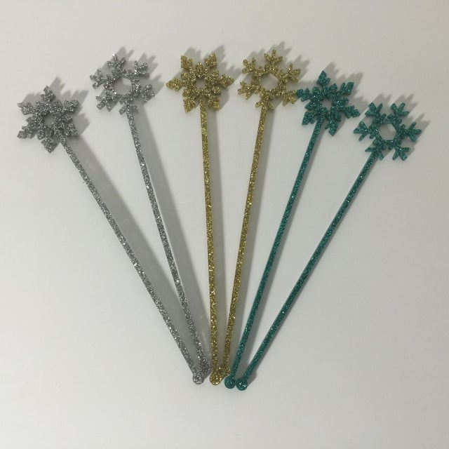 Image of Turquoise Glitter Snowflake Stirrers - Set of 6