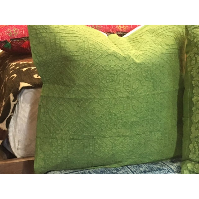 Hand Applique Green Pillow - Image 7 of 8