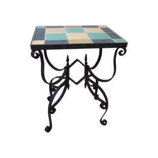 Mid-Century Wrought Iron & Tile Side Table