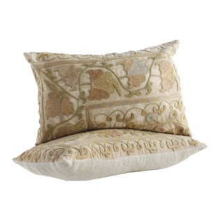 Vintage Crewel Embroidered Pillows - Pair