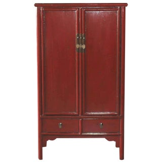 Vintage Chinese Red Lacquer Armoire Wardrobe Chest