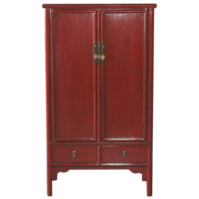 Vintage Chinese Red Lacquer Armoire Wardrobe Chest - Image 1 of 6