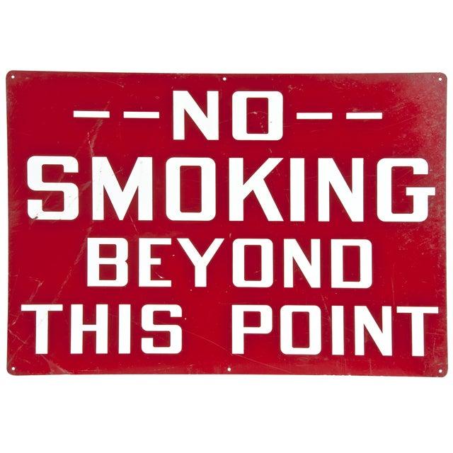 Vintage Industrial 'No Smoking' Sign - Image 1 of 2