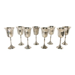 Engraved Silver Plate Wine Mardi Gras Krewe Goblets - Set of 8