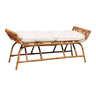 French Mid Century Rattan 1950s Bench with Linen Custom-Made Cushion