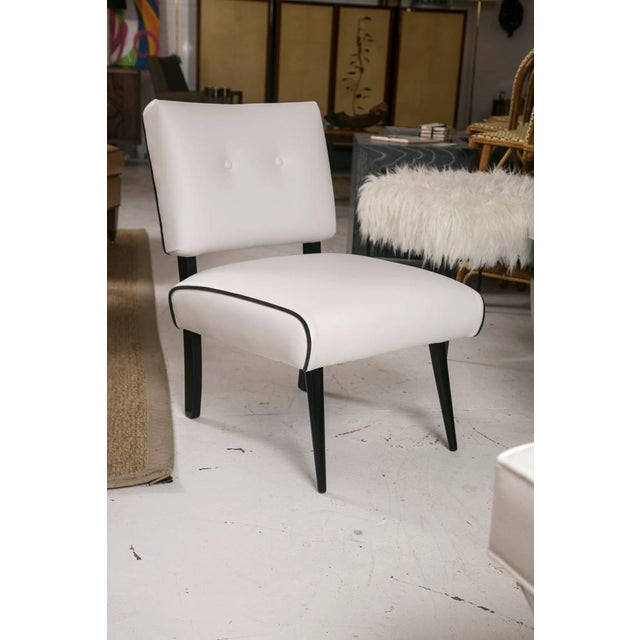 Mid-Century Modern Slipper Lounge Chair in White Vinyl - Image 2 of 9