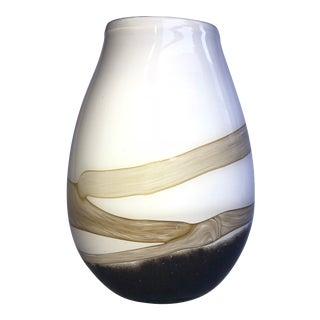 Hand Blown Taupe & Brown Vase