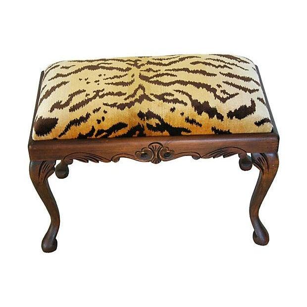 Vintage Scalamandre Le Tigre Silk Velvet Bench - Image 5 of 8
