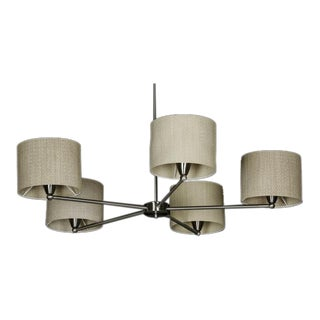 Contemporary Cream Grasscloth Shaded Chrome Chandelier