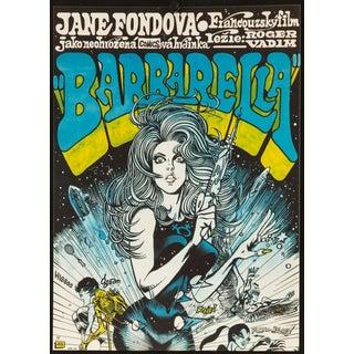 "Vintage 1971 Czech ""Barbarella"" Jane Fonda Film Poster"