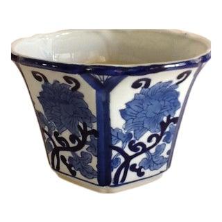 Blue & White Asian Lotus Flower Plant Pot