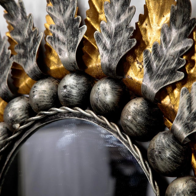 Pair Mid Century Spanish Gilt and Silver Metal Sunburst Mirrors - Image 7 of 9