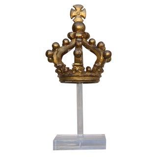 19th C. Italian Gilt Wood Crown on Lucite Base