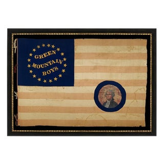 SILK, CIVIL WAR BATTLE FLAG OF THE GREEN MOUNTAIN BOYS, WITH WHIMSICAL GOLD TEXT SURROUNDED BY A SOUTHERN-EXCLUSIONARY COUNT OF 20-STARS