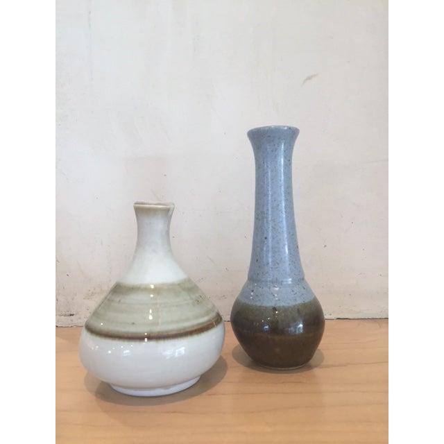Image of Mid-Century Modern White & Brown Bud Vase